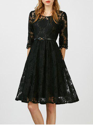 Beaded Lace Belted A Line Cocktail Dress - Black - Xl