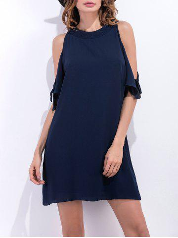 Loose Fit Cold Shoulder Short Chiffon Dress - Purplish Blue - Xl