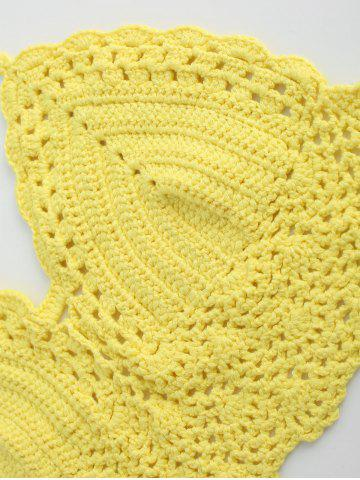 Hot Halter Crochet Cute Bathing Suit Top - ONE SIZE YELLOW Mobile