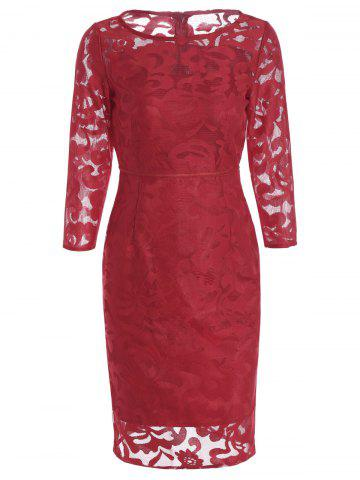 Shop Openwork Semi Sheer High Waist Sheath Dress RED S