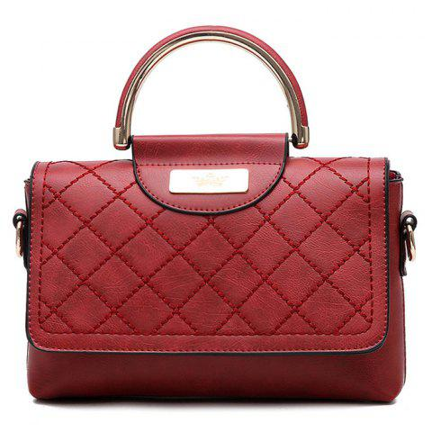 Best Rhombus Flap Faux Leather Quilted Bag