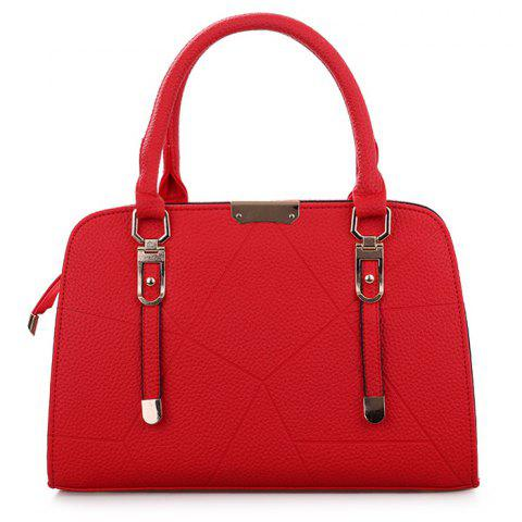Discount Metal and Strap Detial Faux Leather Handbag RED