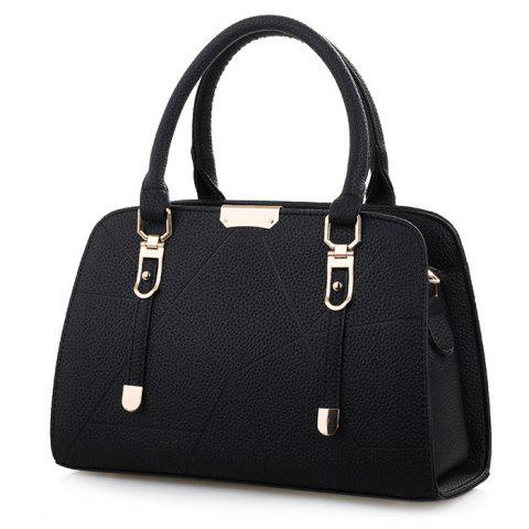 Affordable Metal and Strap Detial Faux Leather Handbag BLACK