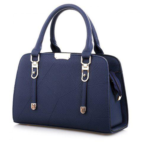 Metal and Strap Detial Faux Leather Handbag - CERULEAN