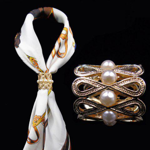 Cheap Vintage Faux Pearl Infinite Brooch Scarf Buckle - GOLDEN  Mobile
