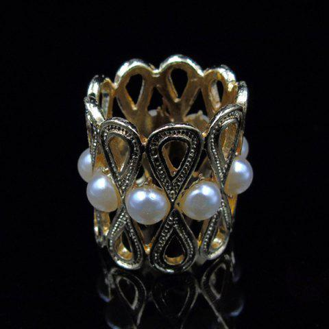 New Vintage Faux Pearl Infinite Brooch Scarf Buckle - GOLDEN  Mobile