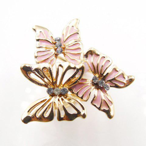 Fashion Vintage Rhinestone Butterfly Scarf Buckle Brooch - PINK  Mobile