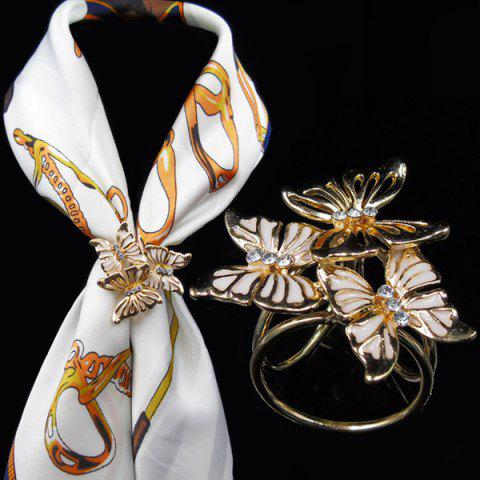 Hot Vintage Rhinestone Butterfly Scarf Buckle Brooch - WHITE  Mobile
