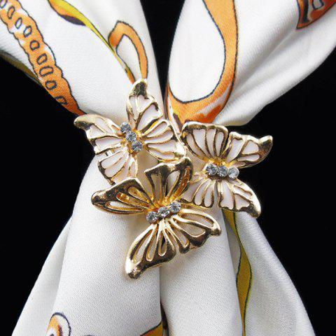 Fashion Vintage Rhinestone Butterfly Scarf Buckle Brooch - WHITE  Mobile