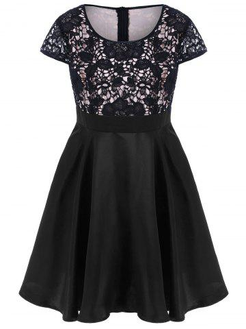 Plus Size Lace Trim Cap Sleeve Dress - BLACK 5XL