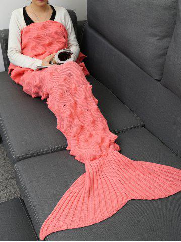 Unique Knit Massage Contour Throw Mermaid Blanket - 180*90CM PINK Mobile