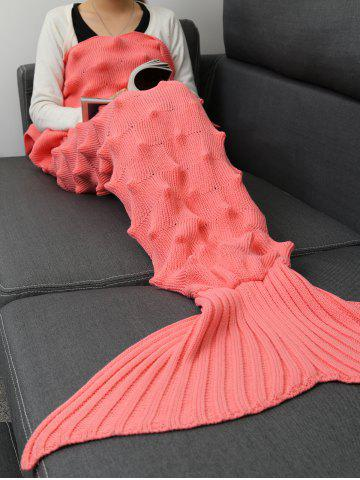Fashion Knit Massage Contour Throw Mermaid Blanket - 180*90CM PINK Mobile