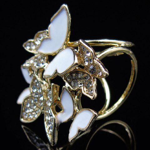 Chic Rhinestone Butterfly Scarf Buckle Brooch - WHITE  Mobile