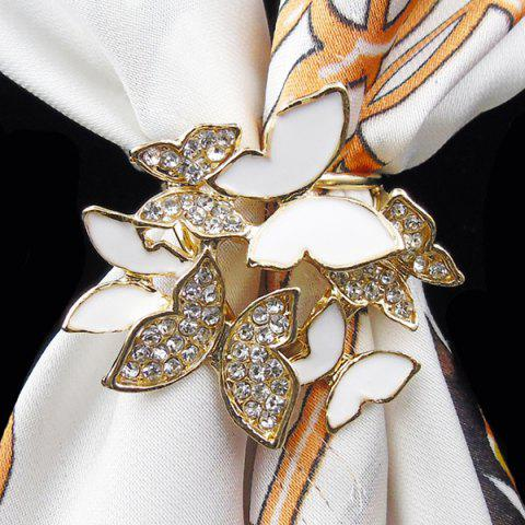 Cheap Rhinestone Butterfly Scarf Buckle Brooch - WHITE  Mobile