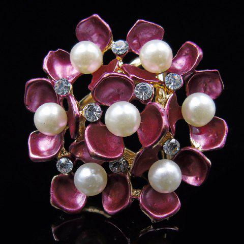 Unique Floral Faux Pearl Rhinestone Scarf Buckle Brooch - PEACH RED  Mobile