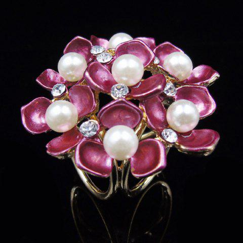 Buy Floral Faux Pearl Rhinestone Scarf Buckle Brooch - PEACH RED  Mobile