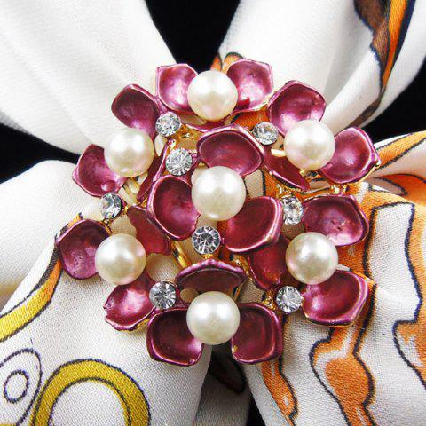 Sale Floral Faux Pearl Rhinestone Scarf Buckle Brooch - PEACH RED  Mobile