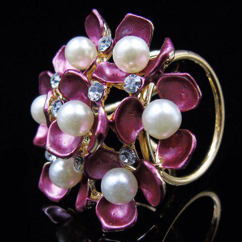 Best Floral Faux Pearl Rhinestone Scarf Buckle Brooch - PEACH RED  Mobile