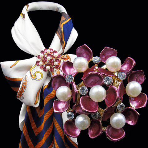 New Floral Faux Pearl Rhinestone Scarf Buckle Brooch - PEACH RED  Mobile