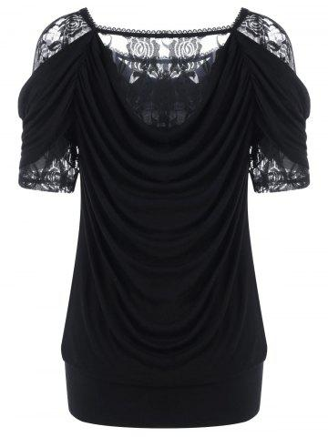 Chic Lace Trim Ruched T-Shirt - M BLACK Mobile