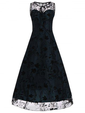 A Line Floral Sleeveless Tulle Maxi Party Formal Dress - Blue - L