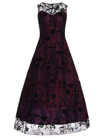 A Line Floral sans manches Tulle Maxi Party Robe formelle