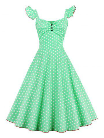 New Polka Dot Buttoned Pin Up Rockabilly Swing Dress