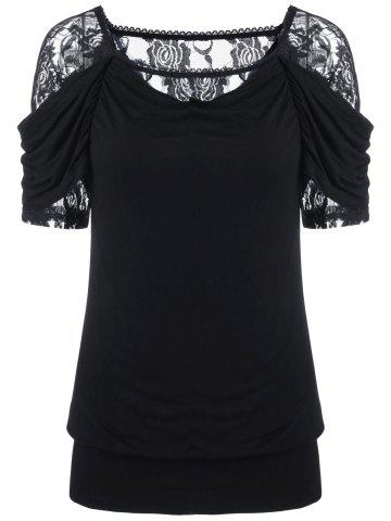 Sale Lace Trim Ruched T-Shirt