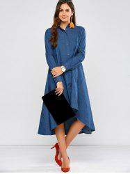 High Low Casual Long Sleeve Chambray Midi Shirt Dress