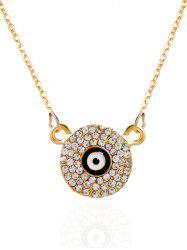 Rhinestone Round Eye Pendant Necklace