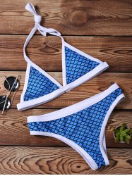 Scale Print Halter Little Mermaid Bikini Set