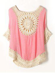 Color Block Openwork Crochet Cover-Up - PINK