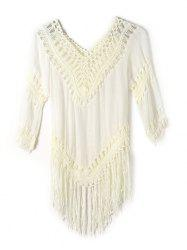 Openwork Fringe V Neck Tunic Crochet Cover-Up - OFF-WHITE