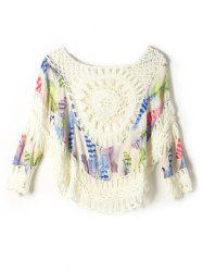 Feather Print Crochet Cover-Up -