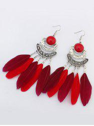 Artificial Gem Feather Bohemian Hook Earrings