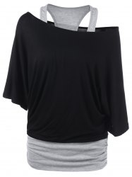 Skew Neck Racerback Two Tone T-Shirt - BLACK AND GREY