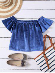 Velvet Off The Shoulder Loose T-Shirt