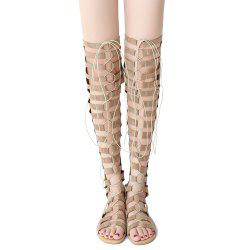Lace Up Gladiator Thigh High Sandals - APRICOT