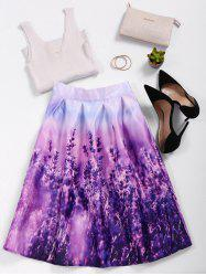 Lavender Print High Waisted Skater Skirt
