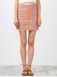 High Rise Striped Fringed Skirt