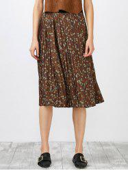High Waisted Tiny Floral Print Pleated Skirt