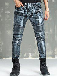 Zip Fly Painting Biker Jeans