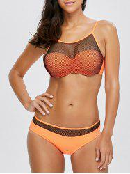 Mesh Insert Padded See-Through Bikini