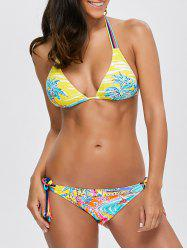 Beach Tree Print Color Block Bikini