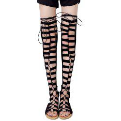 Lace Up Gladiator Thigh High Sandals - BLACK