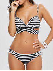 Striped Halter Bikini Swimwear Suits - WHITE AND BLACK S