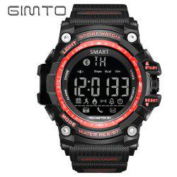 GIMTO Sport Pedometer Remider Bluetooth Smart Watch - RED