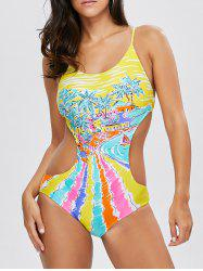 Colorful Print Cut Out One Piece Swimwear