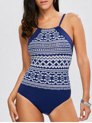 Geometrical High Neck One Piece Swimwear