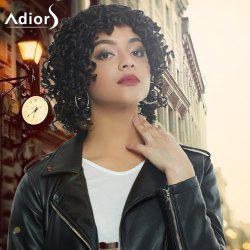 Adiors Medium Afro Curly Side Bang Synthetic Capless Wig